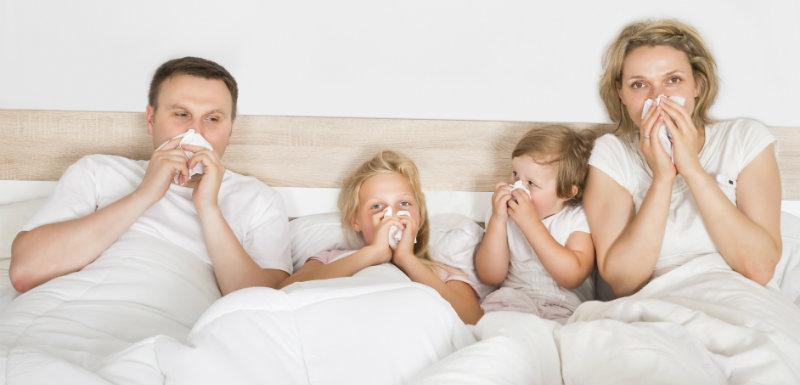 famille souffrant de la grippe : importance de son année de naissance