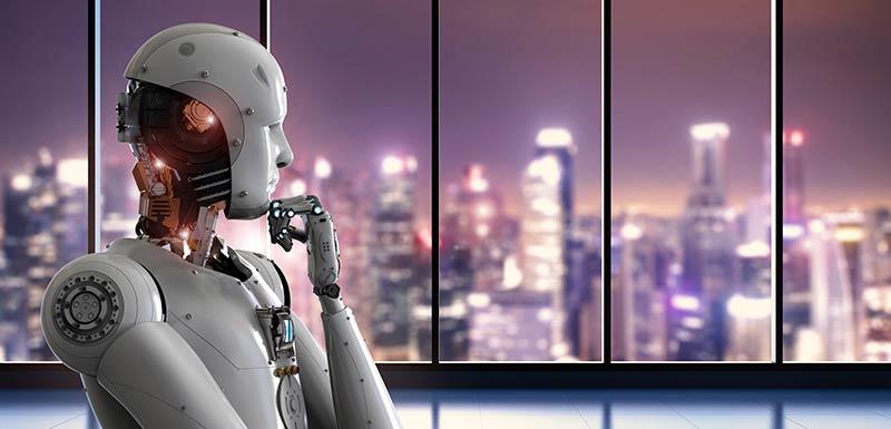 Un robot regarde par la fenêtre tout en réfléchissant.