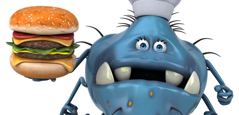 Un bonhomme avec un burger Fast-food