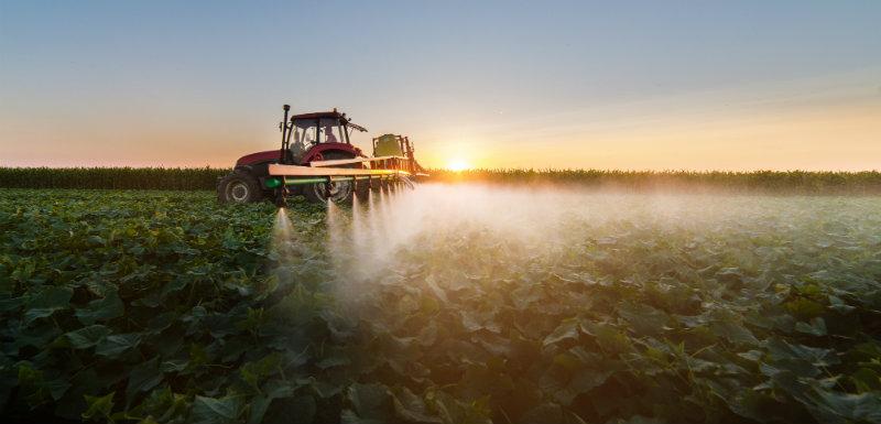 tracteur vaporisant des pesticides dans un champs
