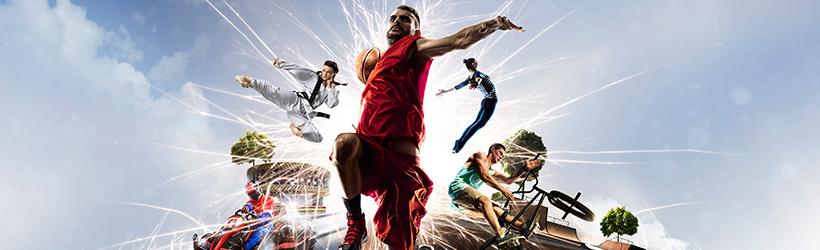 Multi sport sautant de l'horizon