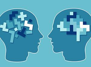 Puzzle de cerveau dans deux têtes pour la neurologie et la psychologie