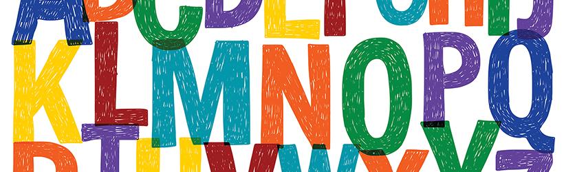 Motif avec lettres vectorielles dessinées à la main