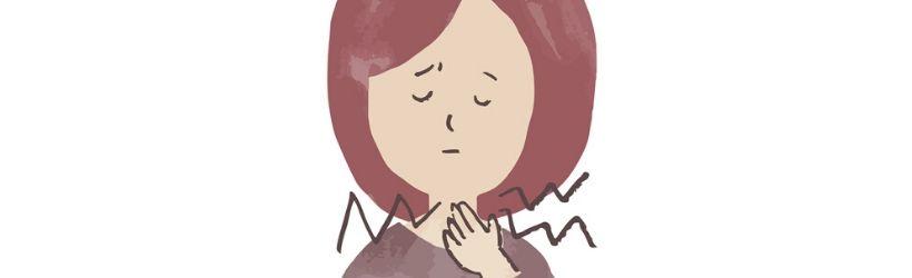 Illustration d'une dame rousse ayant mal à la gorge