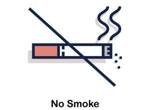 """Illustration avec une cigarette allumée barrée, avec inscription """"no smoke"""""""