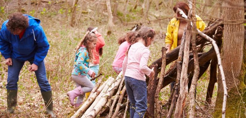 Groupe d'enfants qui jouent ensemble dans un bois en colonie