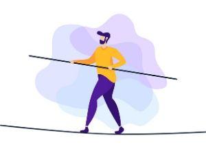 Illustration d'un homme tenant l'équilibre sur une corde avec une perche dans les mains