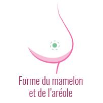 Schéma de l'auto-examen des seins : forme du mamelon et de l'aréole