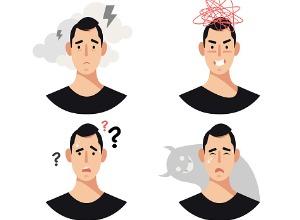 dessin de plusieurs émotions sur le visage d'un homme