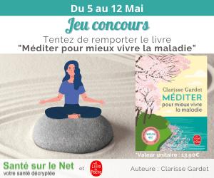 Bannière concours Facebook du 5 au 12 mai - Tentez de remporter le livre « Méditer pour mieux vivre la maladie »
