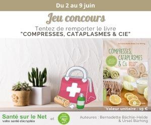 Bannière concours Facebook du 2 au 9 juin - Tentez de remporter le livre « Compresses, cataplasmes & cie »